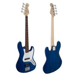 OEM ODM Corps solide de couleur bleue 4-string Style J guitare basse électrique