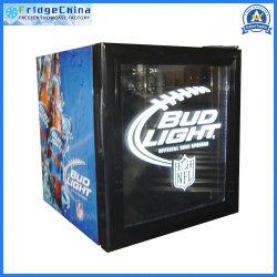 Mini-refrigerador vertical puerta vidrio pantalla bebidas bar nevera congelador del refrigerador para hotel o de promoción de bebidas