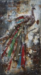 La decoración de metal Pintura al Óleo de arte de la pared de hierro de la grúa a las plumas de dimensión 3D