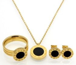 Römischer Zahl-Edelstahl Necklace+Earrings+Ring weiße/schwarze Shell-Schmucksache-Sets