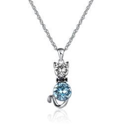 De Tegenhanger van de Vorm van de Kat van de manier met Blauwe Platina Geplateerde Halsband Zircon