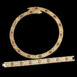 Rubine金によって満たされるStainlesssの鋼鉄宝石類セット