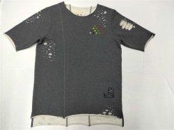 Fashion Style Emb T-shirt Dameskleding Broken Hole Curved hem Long T-shirt voor korte rug