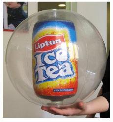 2019 Nuevo Claro globo inflable con botella en el interior para publicidad