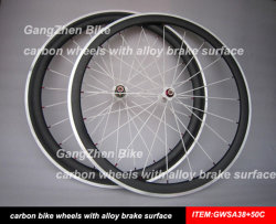 Выбросов углекислого газа с легкосплавными колесными дисками, 38 мм поверхности тормоза передних и задних колес Clincher 50мм, велосипедных колес на складе
