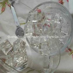 Cubo de gelo artificial de acrílico e bloco de gelo de cristal para decoração de bares