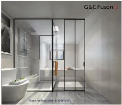 2019 Hot vendre Foshan double d'usine de verre trempé Châssis de portes coulissantes en aluminium ultraplat