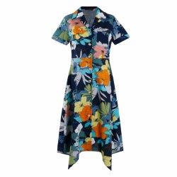 Diseño de Moda Clourful la impresión de la flor de cuello V Vestido de manga corta para vacaciones