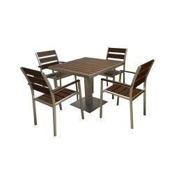 Современная деревянная патио есть балкон Гэри Polywood алюминия для отдыха в кафе - бистро стул в таблице установите наружный внутренний дворик в саду столовая мебель