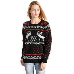 여자의 순록 크리스마스 스웨터 스웨터의 패턴