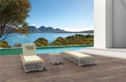 Tissu extérieur moderne en bois de teck meubles de la plage définie une chaise longue