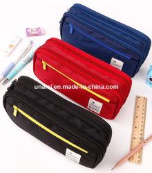 大きい容量のキャンバスの鉛筆のキャリアのペンはケースの文房具袋を運ぶ
