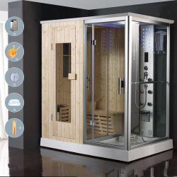 フィンランド風のシンプルなスタイルのコンビネーション。スチームルーム、キャビン、サウナ、シャワーを備えている