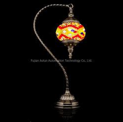 Vidro turcos artesanais candeeiro de mesa em mosaico com pescoço de cisne pole e lanterna de Mosaico (vermelho e azul)