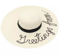 Commerce de gros de façon personnalisée de l'été Mesdames Sun Beach au Mexique de papier large bord Chapeau de paille