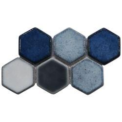 Смешанные цвета с шестигранной головкой из переработанных стеклянной мозаики плитка для пола декор