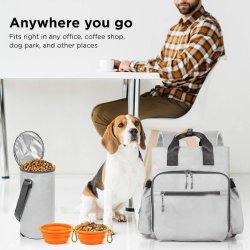 고양이 & 개 책가방을%s 애완 동물 여행 부대는 - 모든 개 재료 & 강아지 공급을 저장하십시오 - 1개의 개 여행 부대, 1개 큰 개밥 여행 콘테이너, 2 접을 수 있는 Trave를 포함한다