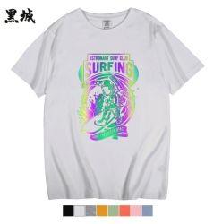 Round NeckレーザーGold Transfter Printing T-ShirtsとのThe Dark Fashion Gradient Logo Printed Shinng Tshirtの反射Glow