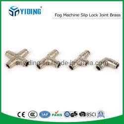 Mistingのティー押しのスリップロック速いスリップTの共同まっすぐな付属品に合う一致の高圧ぼやける機械スリップロックのティーのコネクターの真鍮の共同霧機械T