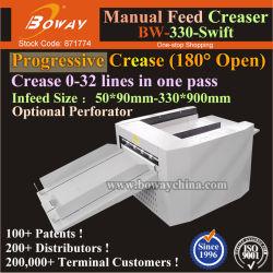 L'art du papier glacé Layflat livre progressiste INC/DEC de rainage perforante d'alimentation manuelle de perforation et Creaser