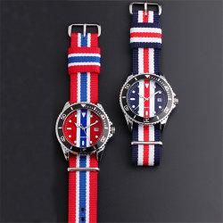 Style britannique Mens temps double logo personnalisé montres en nylon #V510