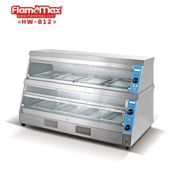 2층 스테인리스 스틸 빵 피자 치킨 음식 디스플레이 보온기 곡면 유리 히터 음식 쇼케이스(HW-812)