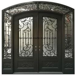 Modernes Metallsicherheits-Außeneisen-bearbeitete Eintrag-Türen mit Goldenem geschnitzt