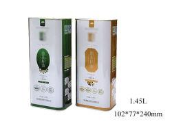 El aceite vegetal orgánica de la serie de latas de metal