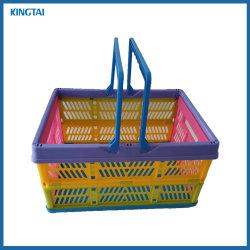 손잡이 중국 공급자 슈퍼마켓 작은 플라스틱 Foldable 쇼핑 바구니로