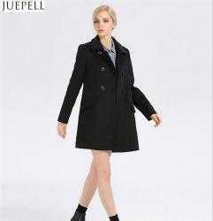 Form-Dame-Muffen-dünnes Wolle-dickflüssiges Mantel-Frauen-europäisches Art-Doppeltes Breasted langer Hülsen-Schwarz-Mantel