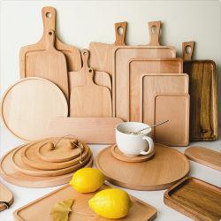 Bandeja de madera hecho personalizado Plato de madera de madera de madera que sirve en bandeja bandeja de comida