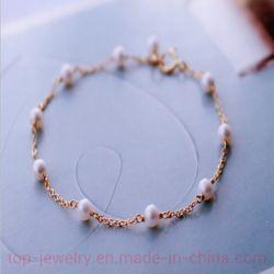 Natürliches 3-4mm rundes Frischwasserperlen-14K Gold-Hineingegossenes Armband