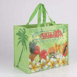 Рекламные материалы для тяжелого режима работы 120 GSM глянцевое ламинирование не тканого PP из фруктов магазинов женская сумка, РР тканого супермаркет мешок