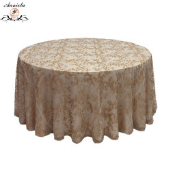 Maillage Champagne brodé or Sequin nappe de mariage