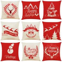 Casa tradicional de Navidad de Diseño Textil Impresión Digital de renos colorida ropa de algodón personalizable sofá cubierta de la Almohada