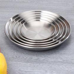 Het ronde Dienende Dienblad van het Voedsel van de Schotels van de Plaat van het Diner van het Roestvrij staal van de Vorm Duurzame