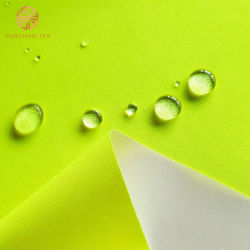 Revestido de PU impermeable transpirable tejido Oxford fluorescente para uniformes de seguridad