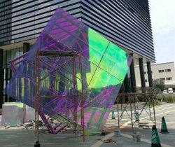 Revêtement décoratif irisées personnalisé pour l'architecture de verre dichroïque