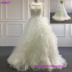 wedding 공주 무도회복 레이스 Tulle 투명한 목 신부 복장