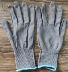 13 Anzeigeinstrument-graues Polyester-Shell-strickende Arbeits-Handschuhe
