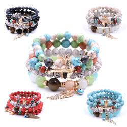 مجوهرات أزياء DIY Vintage Natural Crystal Stone Gemstone Beads Bracelet