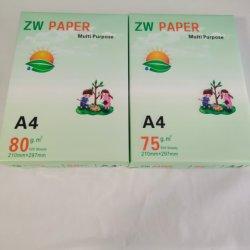 100 % de la pâte à papier A4/rame copieur 500 feuilles - 5 rames/la case A4 du papier copie 70GSM OEM 75GSM 80 g/m²
