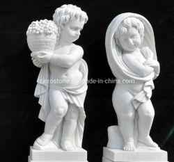 ホーム装飾のための自然な石造りの/Statue/の肖像画の彫刻か人間または天使の彫刻の白い大理石