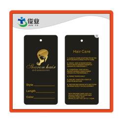 De Druk van het Ontwerp van de Douane van de Leverancier van Dongguan hangt Markering voor Menselijk Haar, de Gouden Verpakking van de Markeringen van de Uitbreiding van het Haar van Zwarten