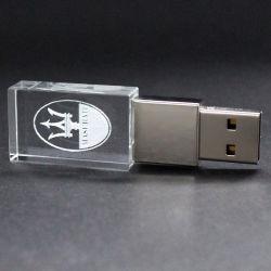USB a cristalli con logo 3D personalizzato di alta qualità con memoria flash LED 1GB-128GB