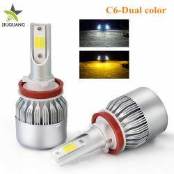 مصباح سيارة ذات لون أصفر مزدوج H7 H11 9006 بقدرة 80 واط مصابيح LED للسيارة C6 الأمامية بطول 1300 لومن H4 H13 للسيارات لـ مصباح الضباب