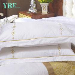 Grossista Yrf 100% algodão acetinado branco Plain Bordados Edredão cobrir folha plana caso de almofadas