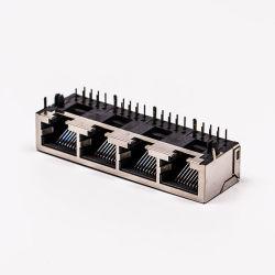 최신 인기 상품 1X4 포트 8 Pin EMI를 가진 90 도 연결관 Rj 45