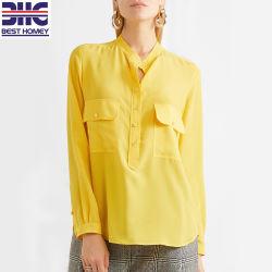 Crepe de seda de China el botón de camisas de manga larga de la moda de mujer blusas para damas