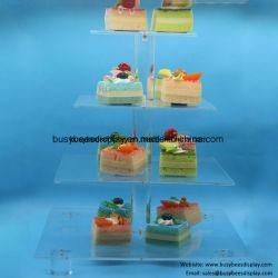 """2개, 3개, 4개, 5개의, 6개의 층 6 """", 8 """", 10 """", 12 """", 14 """", 16 """" 둥근 또는 정연한 결혼식 나무 탑 공간 아크릴 케이크 진열대"""
